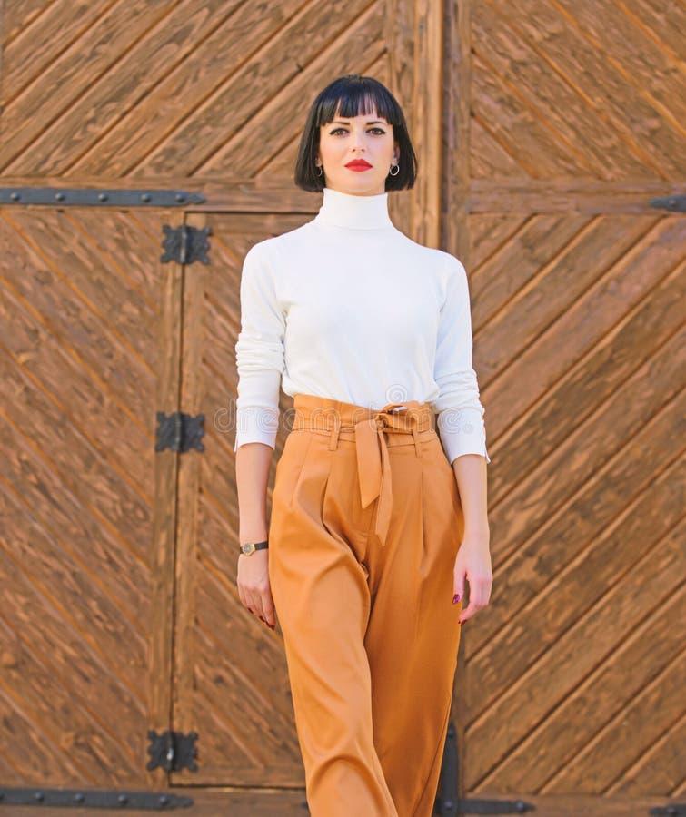 Kobiety pewnie spacer Kobiety brunetki stojaka outdoors modny drewniany t?o mody i stylu poj?cie dziewczyna zdjęcie royalty free
