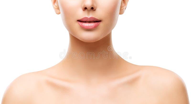 Kobiety piękna skóry opieka, Wzorcowa twarzy warg szyja i ramiona na bielu, zdjęcia royalty free