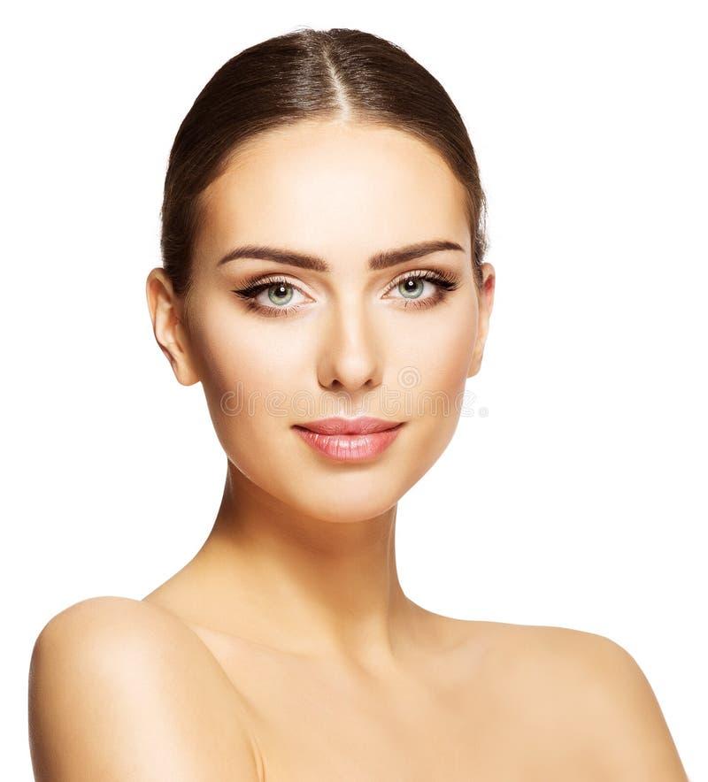 Kobiety piękna twarz, Piękny Wzorcowy Makeup portret, młoda dziewczyna Uzupełniał obraz royalty free