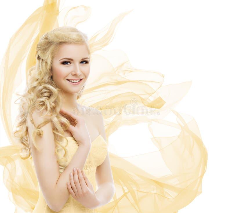 Kobiety piękno, moda modela portret, blondyn Tęsk kędziory fotografia royalty free