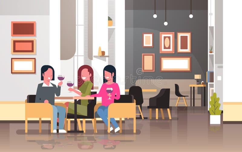 Kobiety pije wino 8 marszu międzynarodowego szczęśliwego dnia pojęcia wakacyjne dziewczyny siedzi przy kawiarnia stołu nowożytną  ilustracja wektor