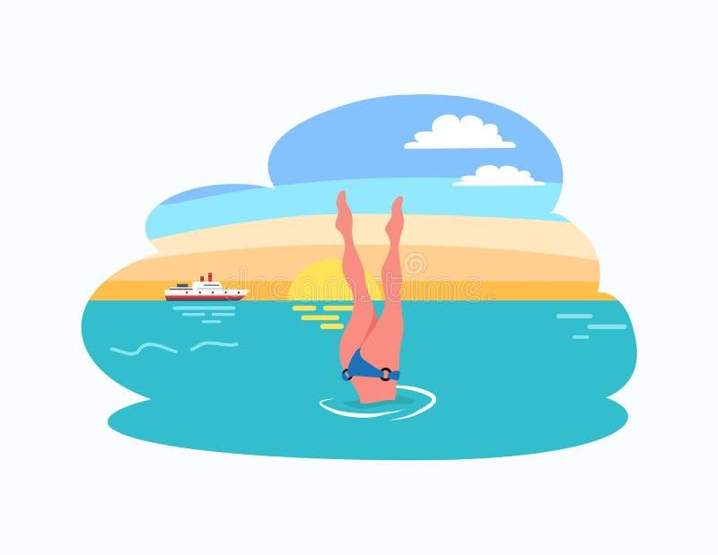 Kobiety pikowania nogi W górę nura w bikini kostiumu przy zmierzchem ilustracja wektor