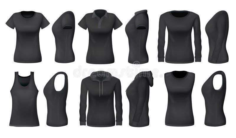 Kobiety podkoszulek bez rękawów czarne koszulki, sportswear mockups ilustracja wektor