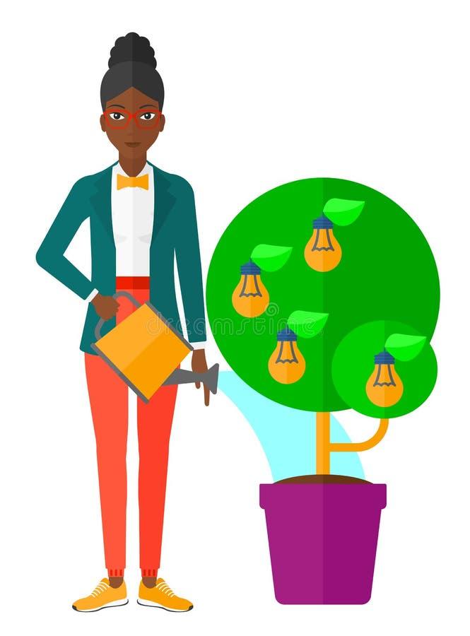 Kobiety podlewania drzewo z żarówkami royalty ilustracja