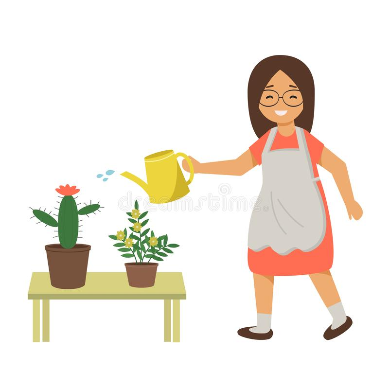 Kobiety podlewanie kwitnie z wodą od podlewanie puszki Dziewczyna bierze opiekę domowe rośliny, kwiaty w garnkach royalty ilustracja