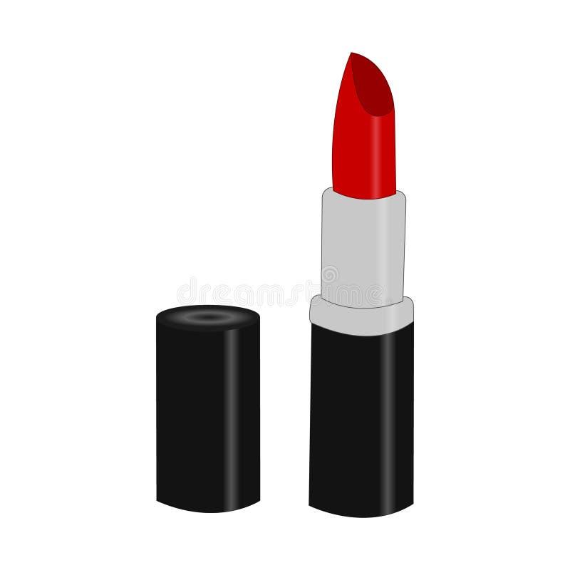 Kobiety pomadki produkt Mody akcesorium ilustracja w modnych czerwonych kolorach dla piękno salonu, sklep, bloga druk royalty ilustracja