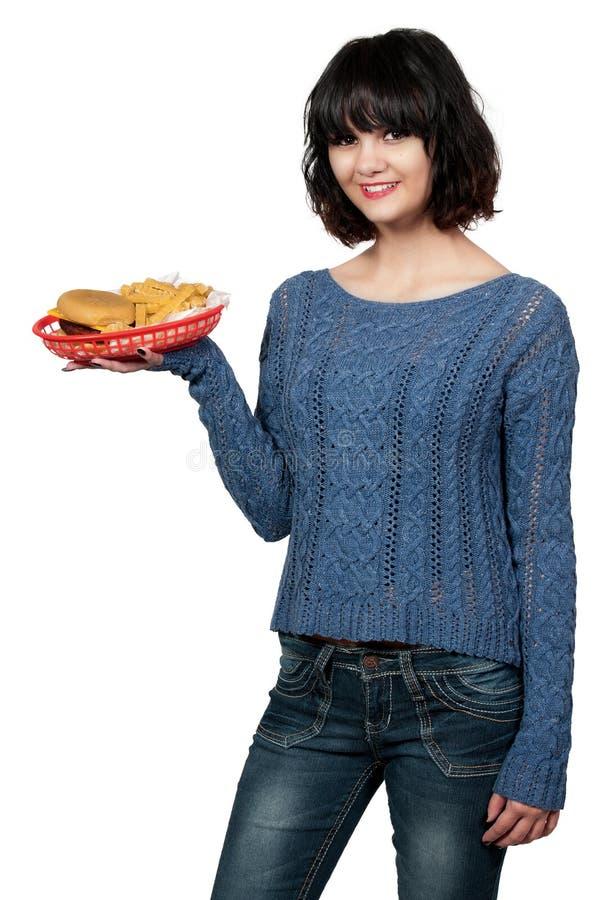 Kobiety porci lunch fotografia royalty free