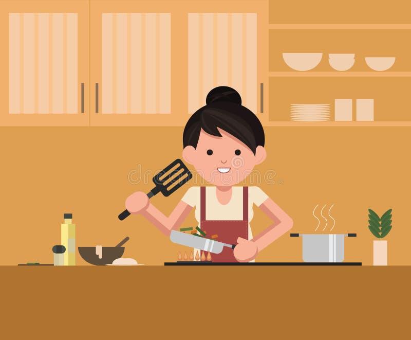 Kobiety pozycja kuchenką w kuchni, gotuje Szefa kuchni kucharz ilustracji