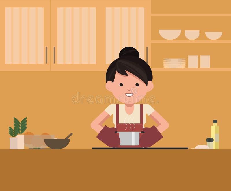 Kobiety pozycja kuchenką w kuchni, gotuje Szefa kuchni kucharz royalty ilustracja