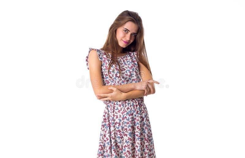 Kobiety pozycja z krzyżować rękami obraz stock