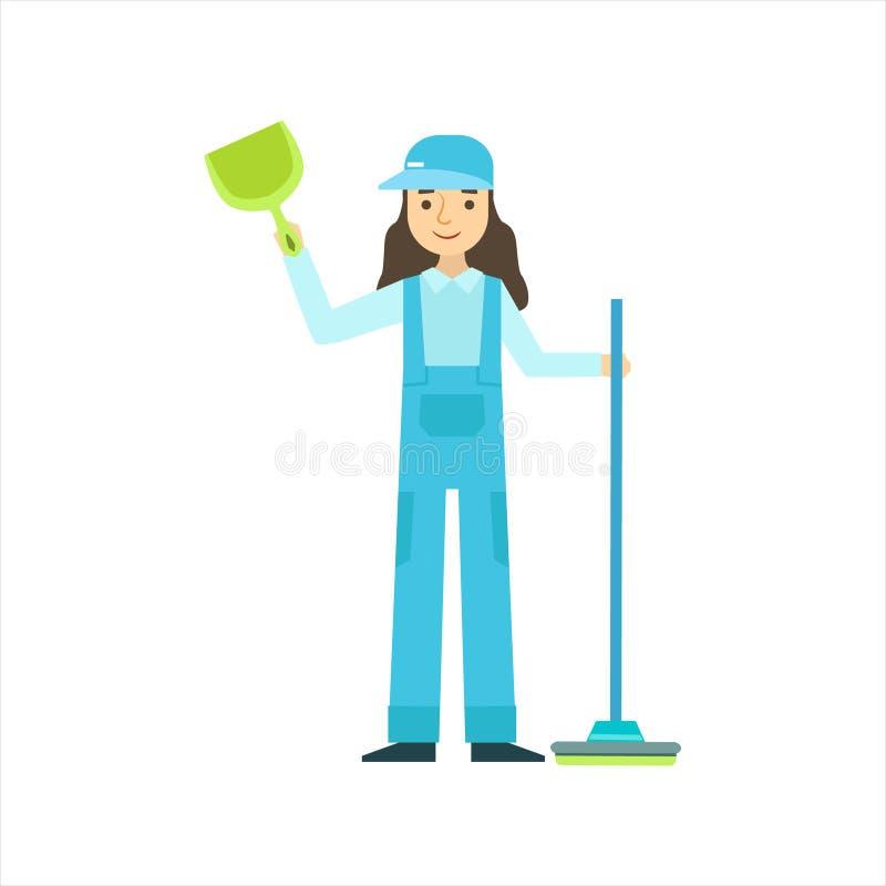 Kobiety pozycja Z miotłą I Duster, Cleaning Usługowy Fachowy Cleaner W Jednolitym Cleaning W gospodarstwie domowym royalty ilustracja