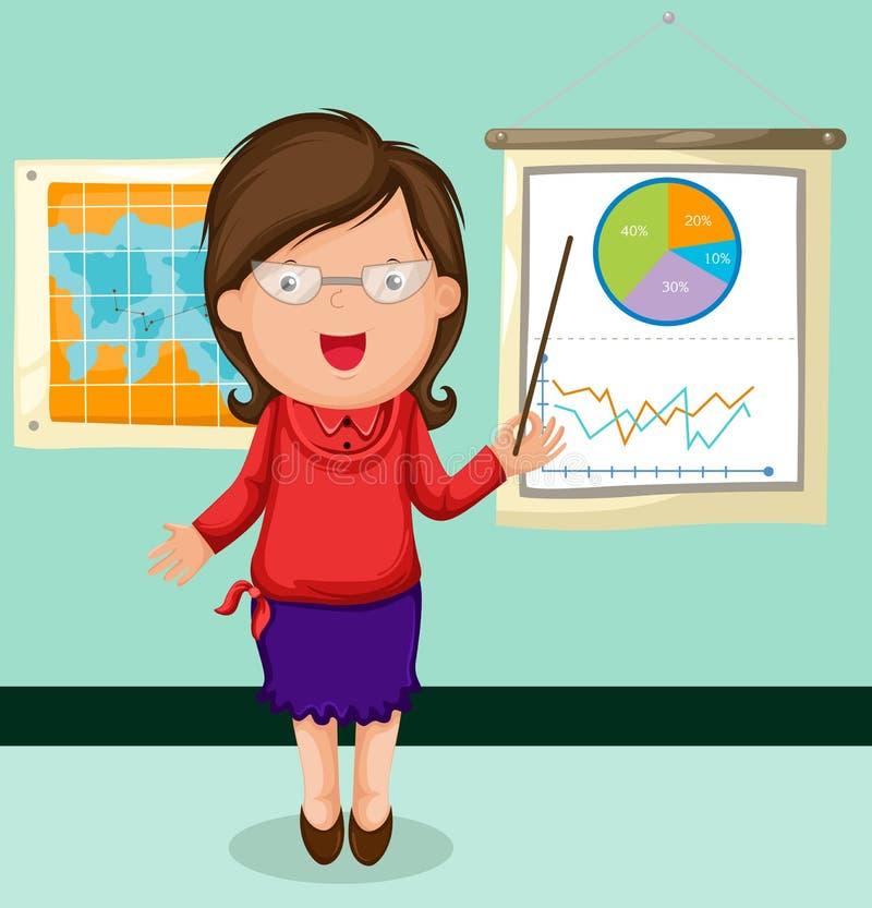 Kobiety prezentaci mapy biznes royalty ilustracja
