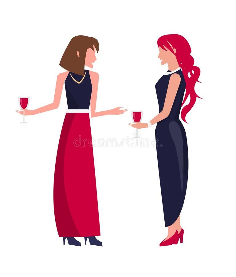 Kobiety przy przyjęciem z winem na Wektorowej ilustraci royalty ilustracja