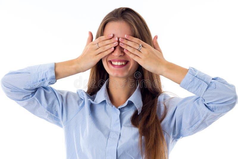 Kobiety przymknięcie ono przygląda się rękami obrazy royalty free