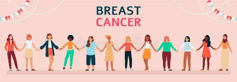 Kobiety różne rasy i wieki przeciw nowotworowi piersi royalty ilustracja