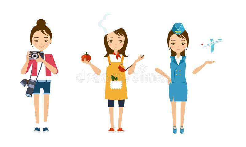 Kobiety różni zawody ustawiający, fotograf, kucharz, stewardesy wektorowa ilustracja na białym tle ilustracja wektor