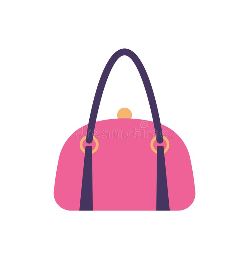 Kobiety Różowią Rzemienną torebka plecy rękojeść i klamerki ilustracja wektor