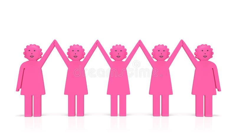 Kobiety równości dzień lub feminizmu pojęcie Szczęśliwe zlane uśmiechnięte kobiety royalty ilustracja
