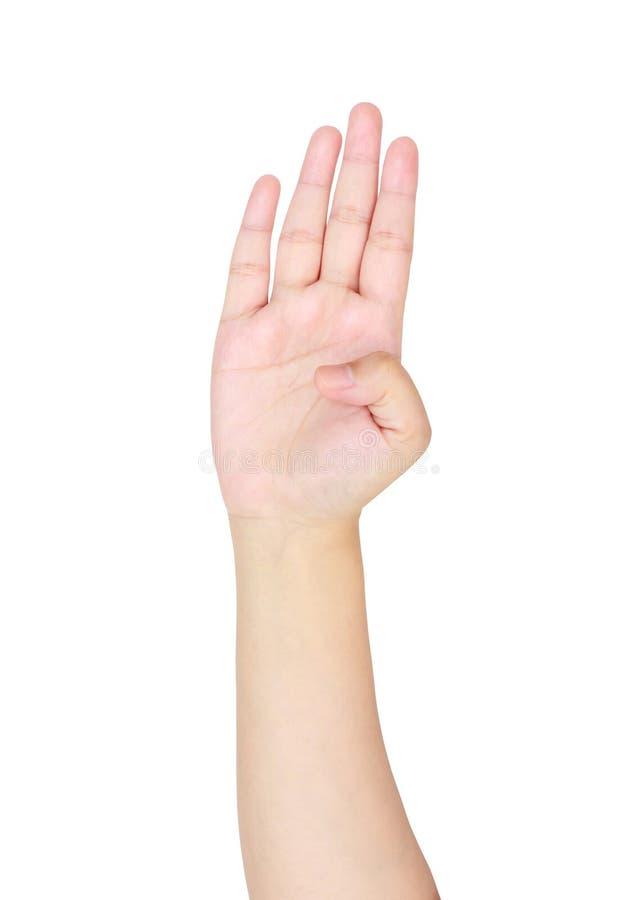 Kobiety ręka pokazuje numerowi cztery fotografia stock