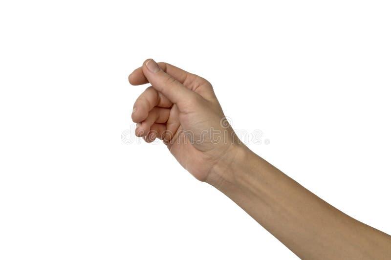 Kobiety ręka udaje trzymać coś odizolowywający nad bielem obraz stock