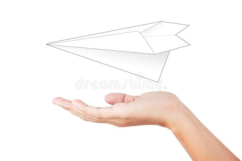 Kobiety ręka wszczyna białego papier fotografia royalty free