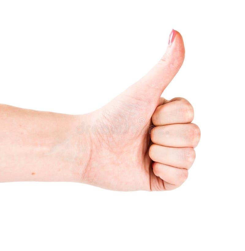 Kobiety ręka z kciukiem up zdjęcia stock
