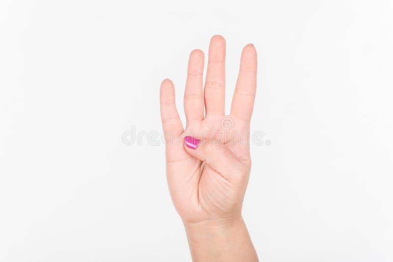 Kobiety ręka Z Polskimi gwoździa przedstawienia Cztery palcami Biały bakcground fotografia stock