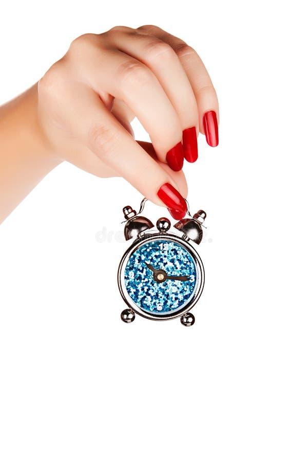 Kobiety ręka z zegarem obraz stock