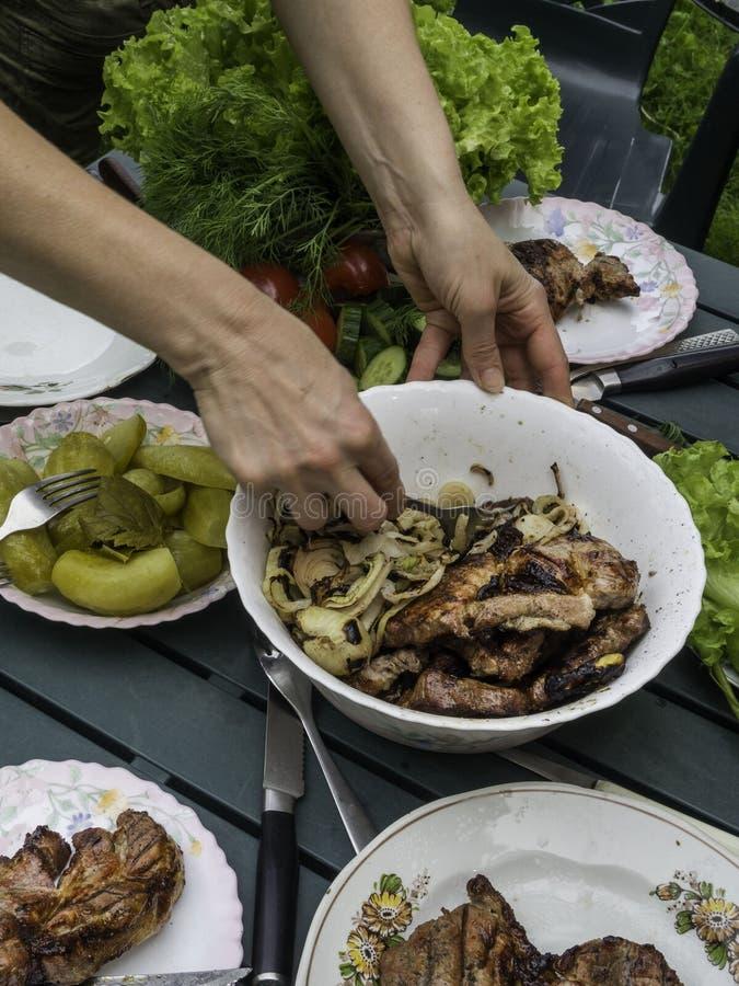 Kobiety ręki bbq, jedzący zdrowej świeżej sałatki i grilla mięsa przy plenerowym grilla ogrodowego przyjęcia zgromadzeniem, selek obrazy royalty free