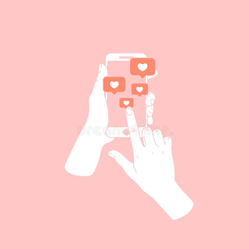 Kobiety ręki mienia smartphone Nowe wiadomości i podobieństwa Ogólnospołeczni medialni powiadomienia również zwrócić corel ilustr ilustracja wektor