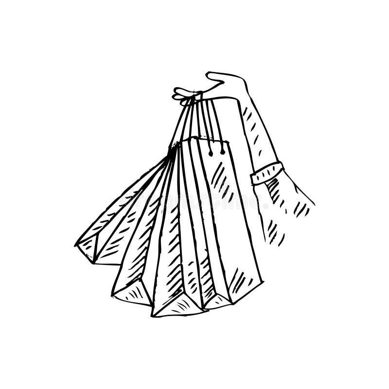 kobiety ręki mienie z torba na zakupy ilustracja wektor