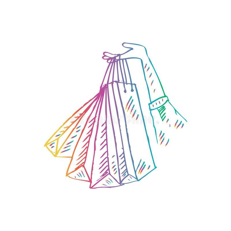 kobiety ręki mienie z torba na zakupy royalty ilustracja