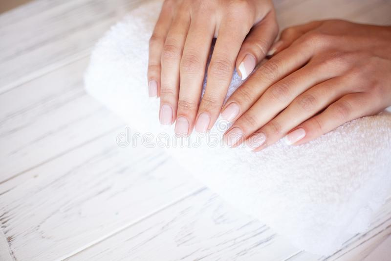 Kobiety ręki opieka Zbliżenie Piękne Żeńskie ręki Ma zdroju manicure Przy piękno salonem Beautician segregowania klienci zdjęcie stock