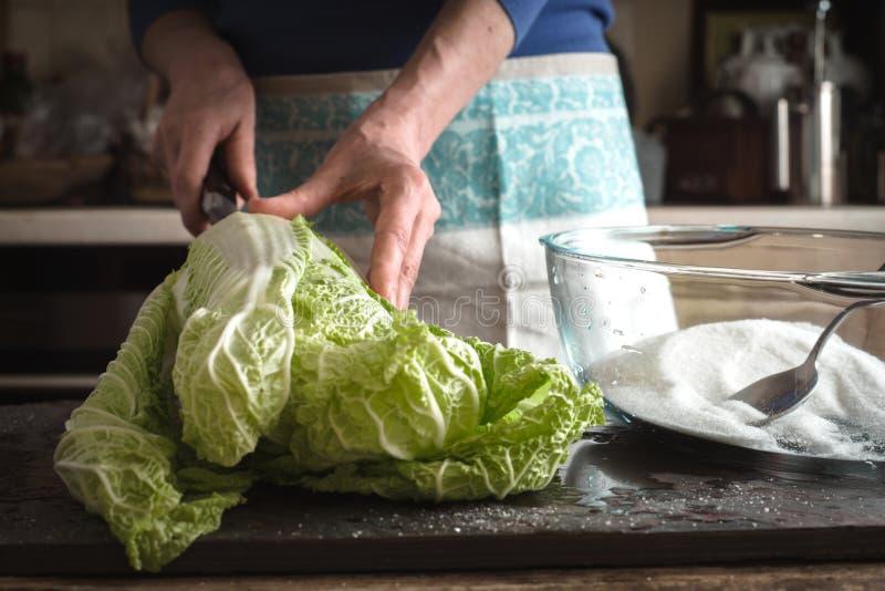 Kobiety rżnięta Chińska kapusta gotować kimchi obrazy royalty free