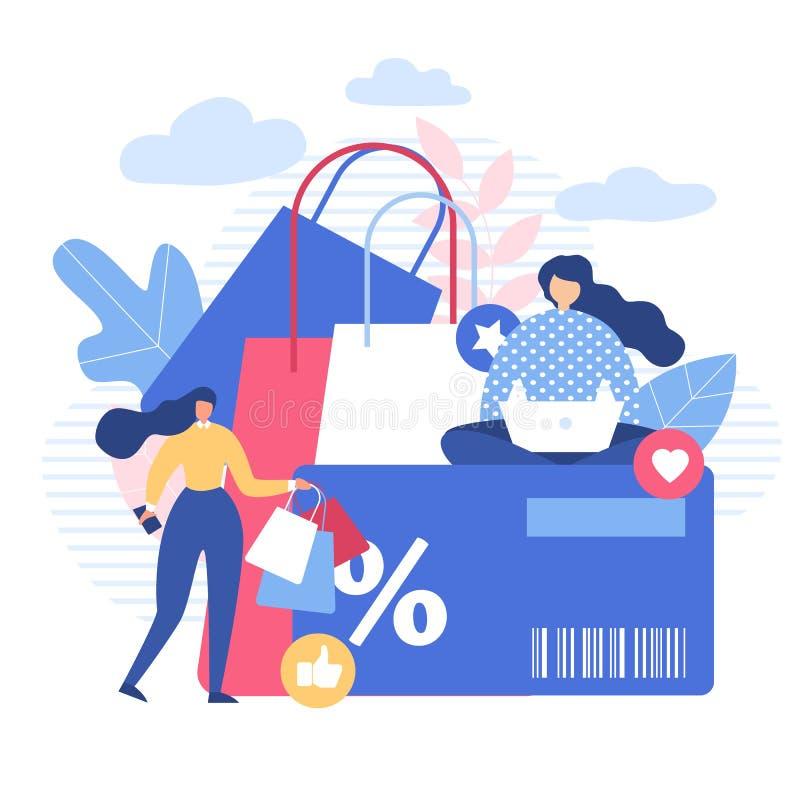 Kobiety Robi zakupy Online z Dyskontowym Używają gadżety ilustracja wektor
