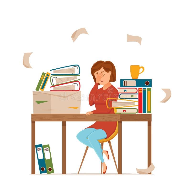 Kobiety ruchliwie zmęczony działanie na komputerowym kolorowym wektorowym pojęciu Kresk?wki mieszkania styl royalty ilustracja