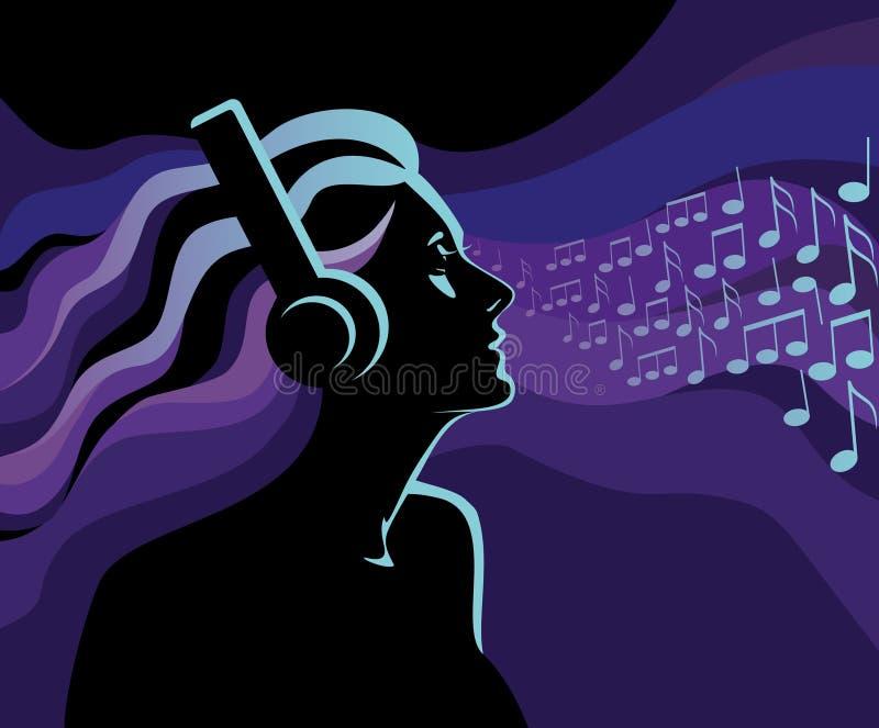 kobiety słuchająca muzyka royalty ilustracja