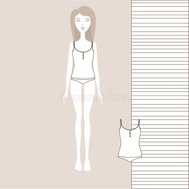 Kobiety ` s bielizna, majtasy, wierzchołek, bustier, dziewczyna ilustracji