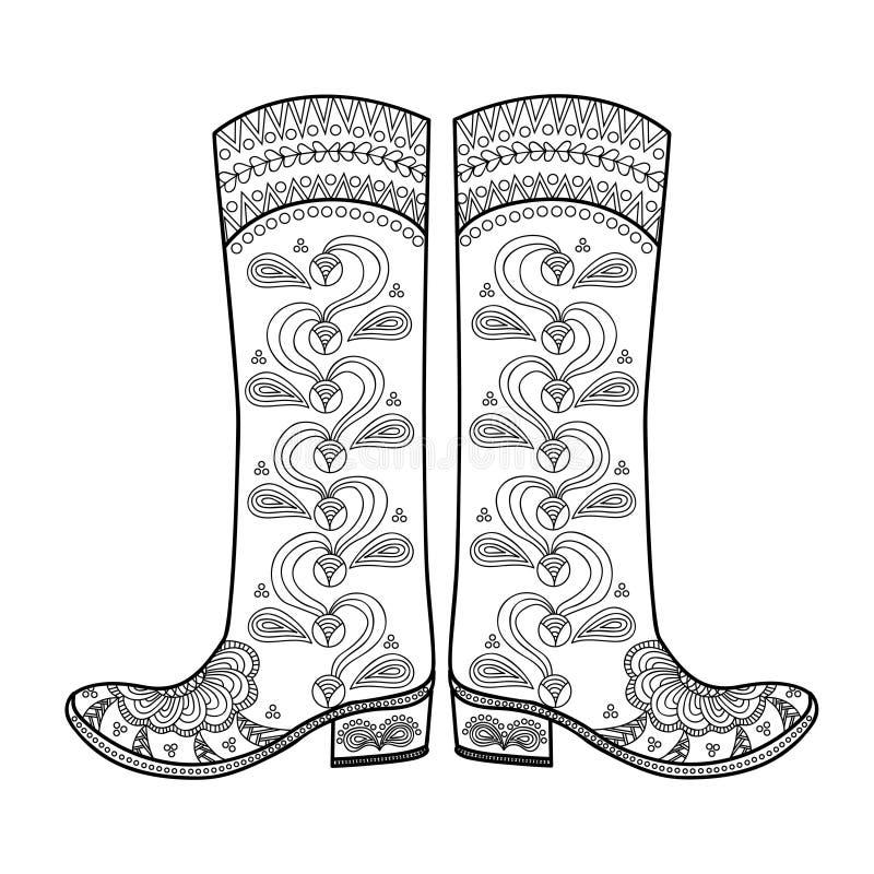 Kobiety ` s buty z pięknym wzorem buty ilustracja wektor