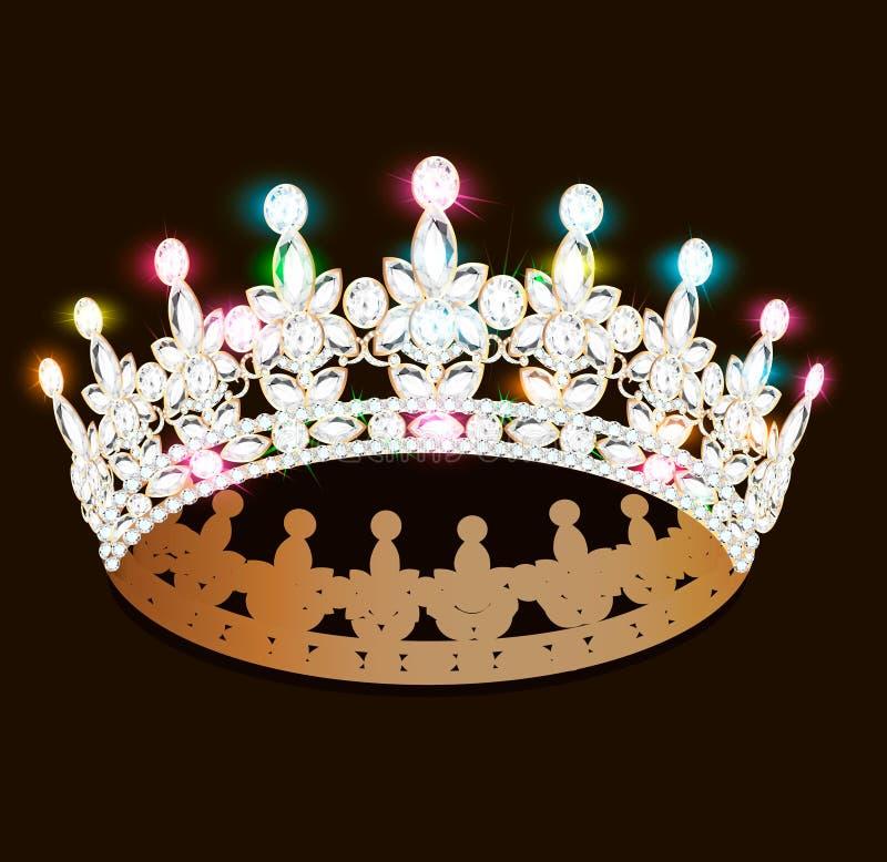 kobiety ` s diademu złocista tiara z cennymi kamieniami royalty ilustracja