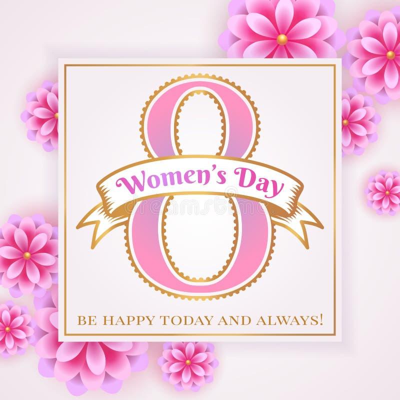 Kobiety ` s dnia kartka z pozdrowieniami z kwiatami ilustracji
