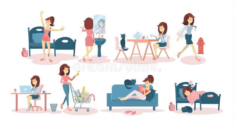 Kobiety ` s dzienna rutyna royalty ilustracja