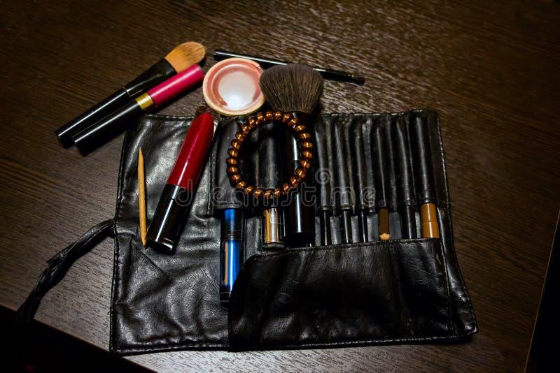 Kobiety ` s kosmetyczna torba obrazy stock