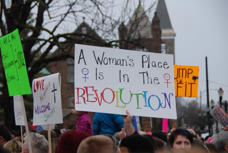 Kobiety ` s Marzec na Lansing, Michigan zdjęcie royalty free