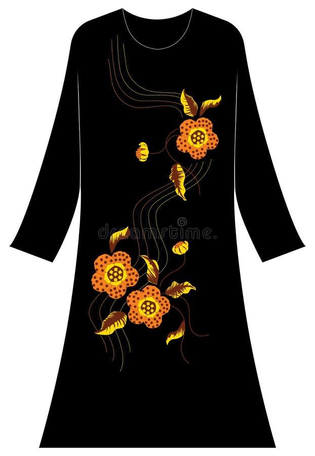 Kobiety ` s odzież: Łaciaści kwiaty z kropkowanymi punkt liniami royalty ilustracja