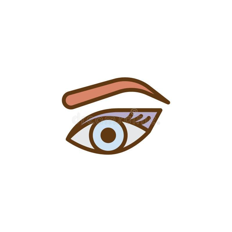 Kobiety ` s oko, brew i rzęsy wypełniający, zarysowywamy ikonę royalty ilustracja