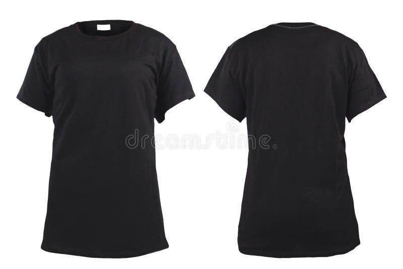 Kobiety ` s pusta czarna koszulka, przód i plecy, projektujemy szablon obrazy royalty free