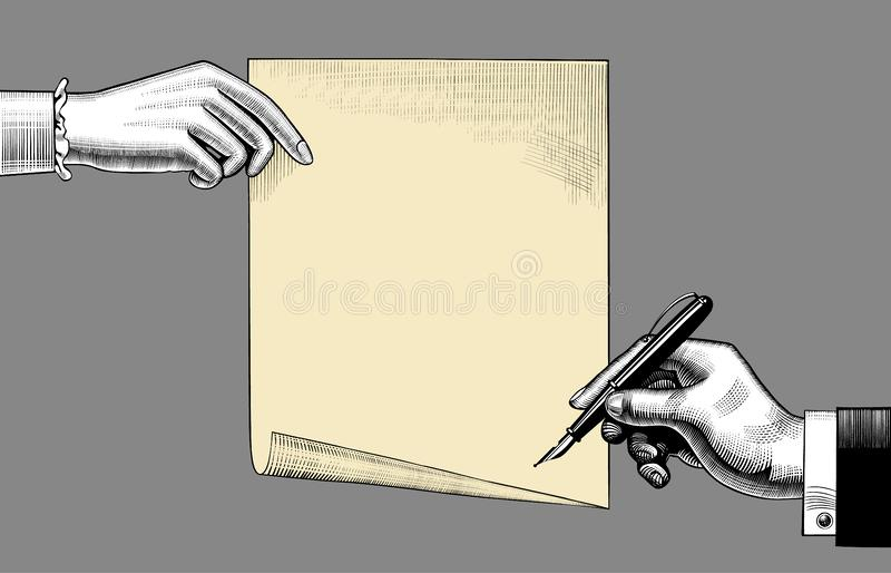 Kobiety ` s ręka trzyma papierową prześcieradła i mężczyzna ` s rękę z piórem royalty ilustracja