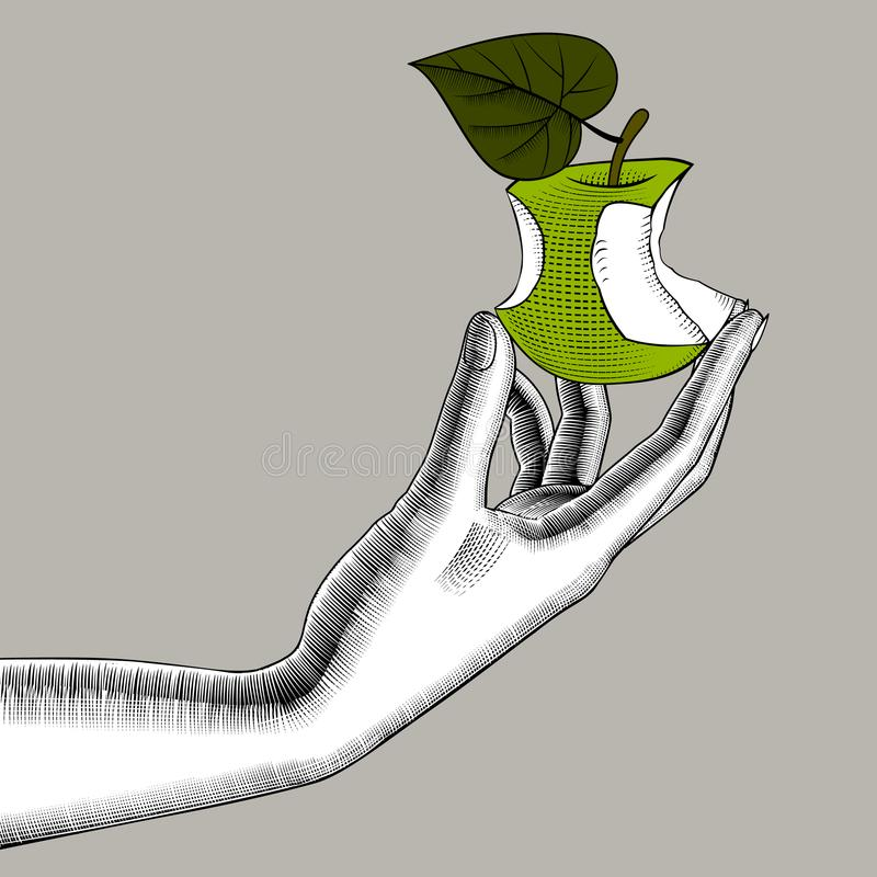 Kobiety ` s ręka z gryźć zielonym jabłkiem royalty ilustracja
