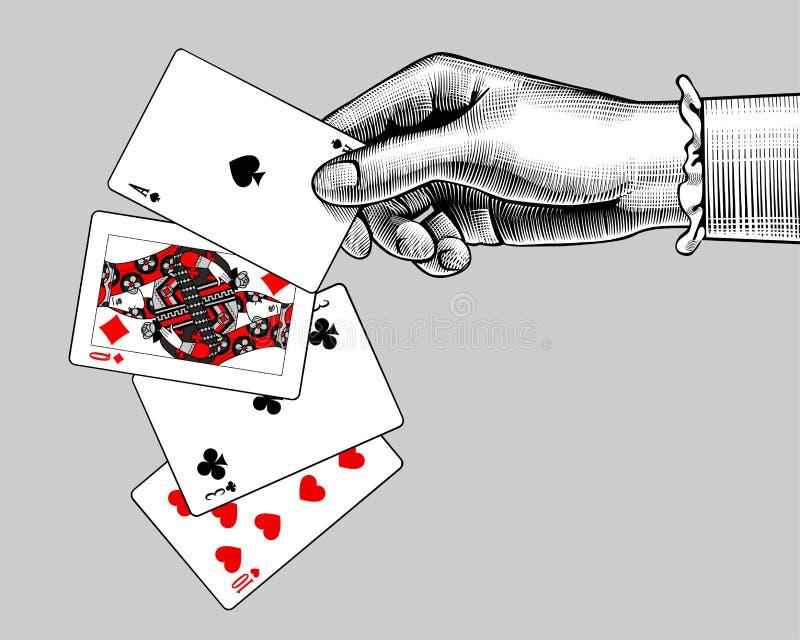 Kobiety ` s ręka z karta do gry fan Rocznika rytownictwo stylizujący ilustracja wektor